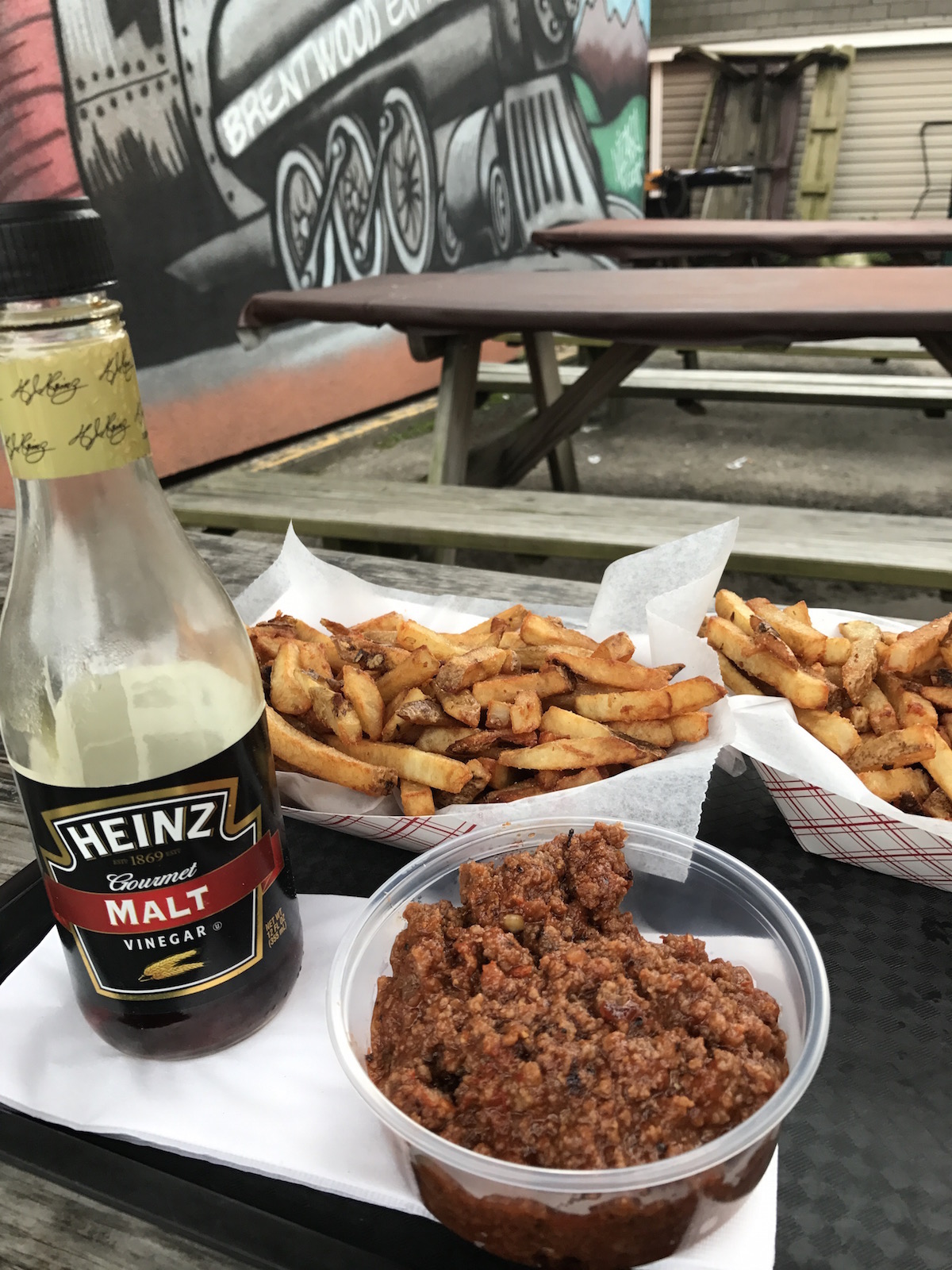 Chili fries and malt vinegar at Rowdy BBQ in the South Hills