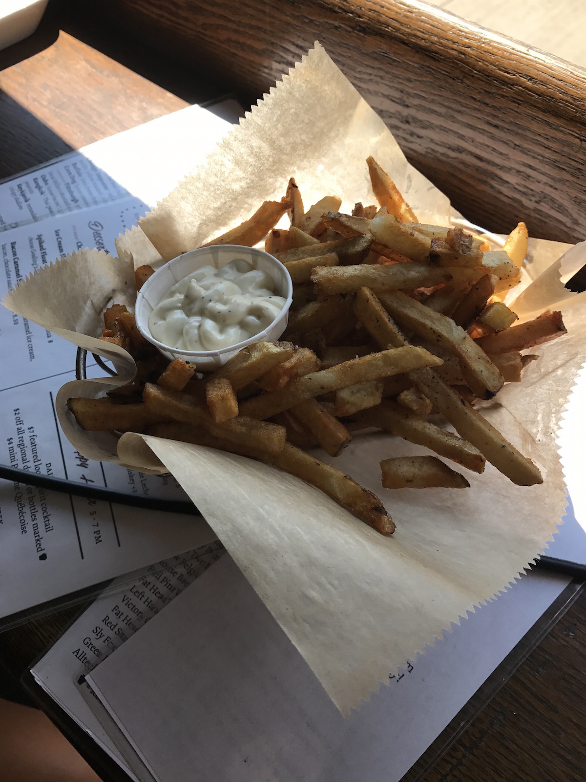 Plain fries and garlic aioli at Frantuary in Lawrenceville