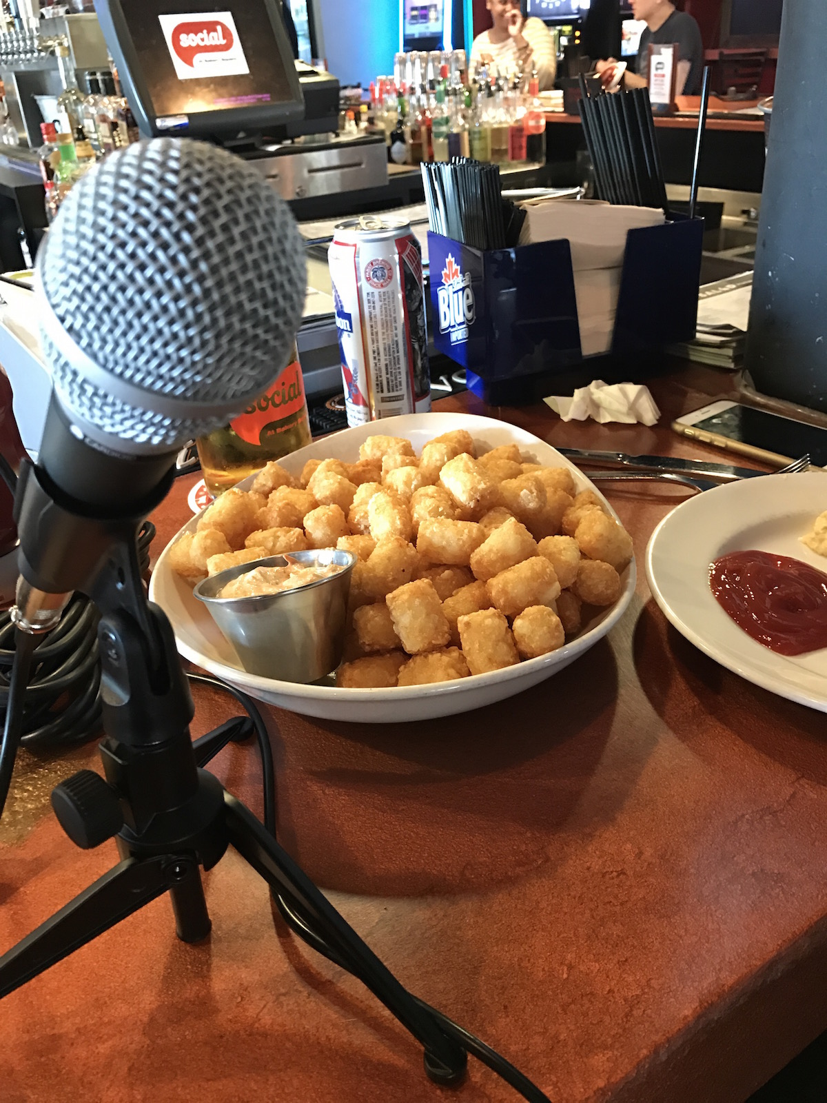 The first episode of Fry Days in PGH was recorded at Social in Bakery Square with a plate of tots and buffalo chicken dip!